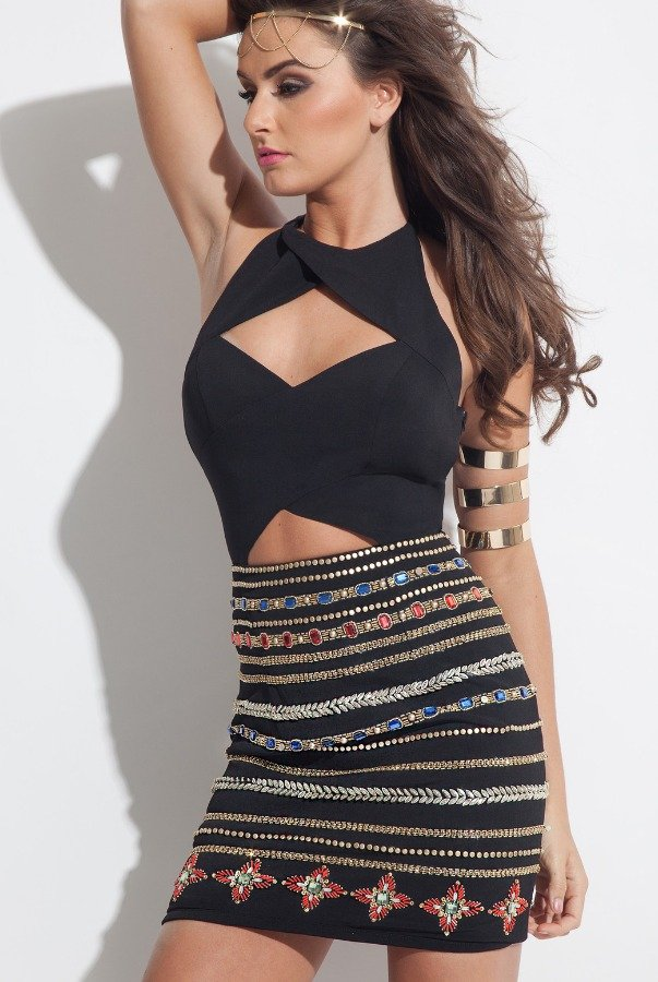 RACHEL ALLAN 4031 Black Jeweled Cutout Wrap Party Dress