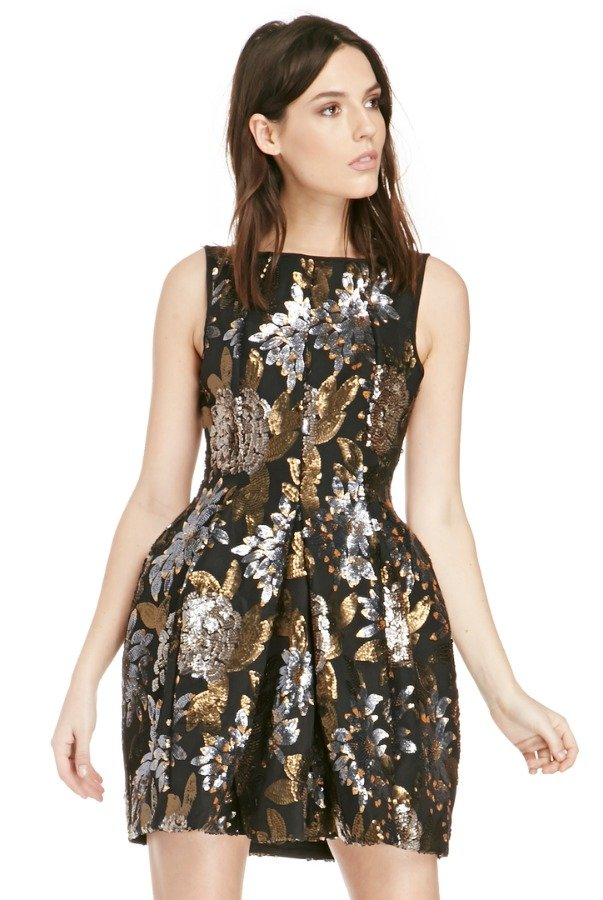 KEEPSAKE Wonderwall Black Floral Sequin Bell Dress