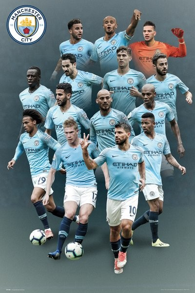 manchester city players 18 19 poster plakat 3 1 gratis bei europosters