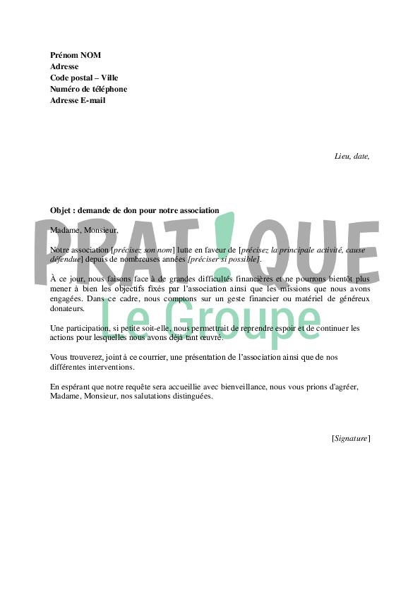 Lettre De Demande De Don Pour Une Association Pratiquefr