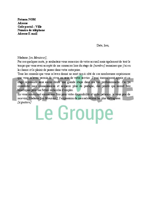 Lettre Remerciements La Fin Dun Stage Pratiquefr