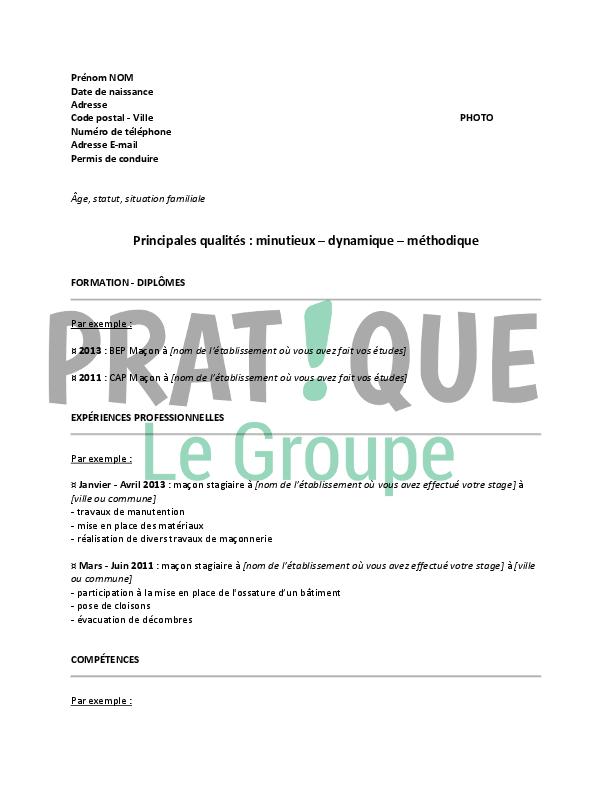Modele De Cv Pour Un Bac Pro Macon Pratique Fr