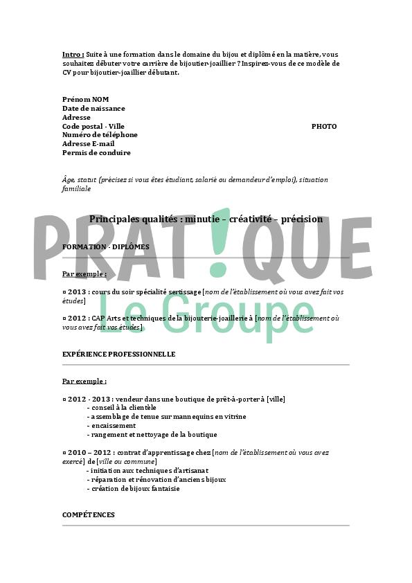 Exemple Cv Bijoutier