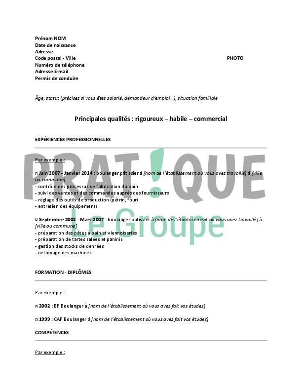 Modele De Cv Pour Un Emploi De Boulanger Patissier Confirme Pratique Fr