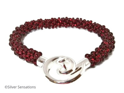 Glowing Dark Ruby Red Beaded & Woven Kumihimo Seed Bead Bracelet