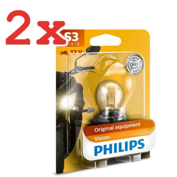 2x PHILIPS VISION MOTO GLÜHBIRNE GLÜHLMAPE SCHEINWERFER MOTORRAD S3 12V P26s 15W