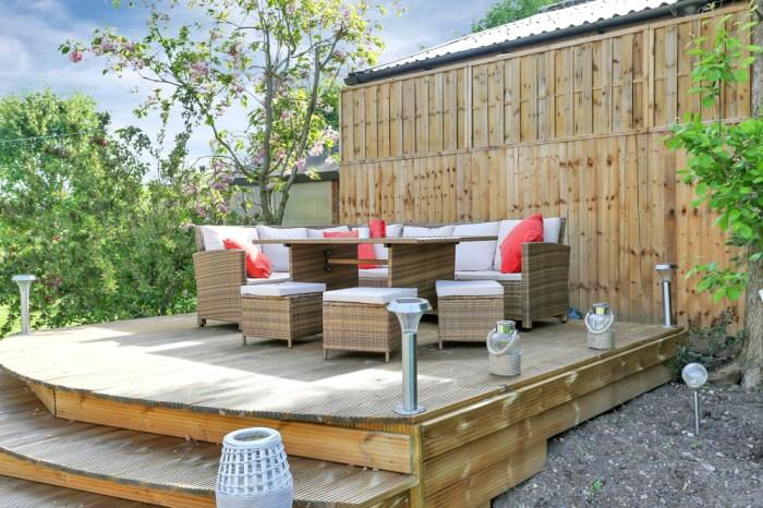 Lemon & Lime Interiors outdoor decking with garden rattan furniture