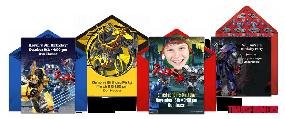 free transformers invitations