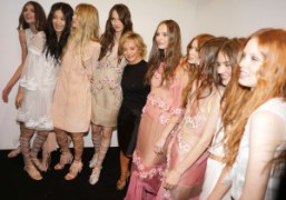 Alberta Ferretti with her models backstage after herS/S 2015 show, Milan. Photo…