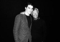 Actor RJ Mitte and Giorgio Armani backstage at the Emporio Armani Men's...