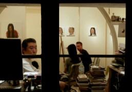 Pascal Möhlmanndrawing a portrait of Japanese actress Rila Fukushimaat Gallery Naruyama, Tokyo….