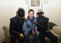 Andre Saraiva withDaft Punk in their new costumes designed by Hedi Slimane…