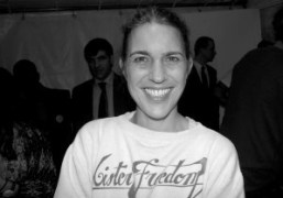 Isabel Marant, wearing her Mister Freedom sweater, backstage after her F/W 2012…