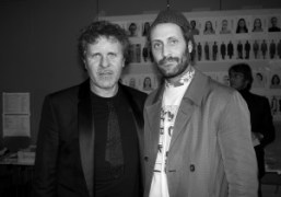Renzo Rosso and his son Andrea Rosso backstage at the Maison Martin…