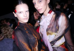 Alessandra Ambrosio andJamie Bochert at the backstage of the Givenchy F/W 2014…