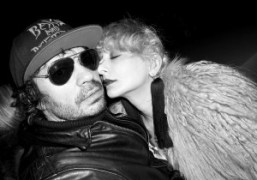 Olivier Zahm andCatherine Bababefore Jeremy Scott's debutMoschino F/W 2014 show, Milan. Photo…