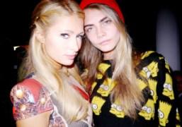 Paris Hilton and Cara Delevingne at the Jeremy Scott S/S 2013 show,…