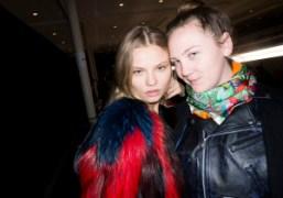 Magdalena Frackowiak and Caroline Gaimari after theSonia Rykiel F/W 2014 show, Paris….