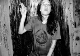 Natalie Whitewearing an anti-nuke Rock the reactors T-shirt, at Erik Foss's studio,New…