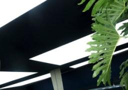 The architecture of the Céline F/W 2014 show at Tennis Club de...