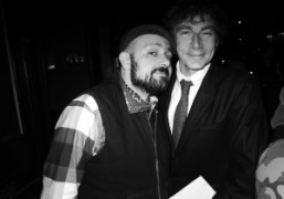 Michael Amzalag and Mathias Augustyniakat their dinner to celebrate the M/M (Paris)…