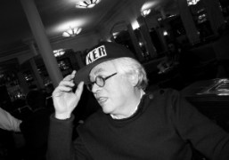 The famous illustrator Pierre Le Tanwearing Olivier Zahm's Baker cap at Café…