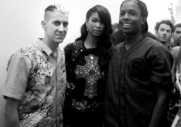 Jeremy Scott, A$AP Rockyand Chanel Imanafter theJeremy ScottS/S 2014 Show, New York.Photo…