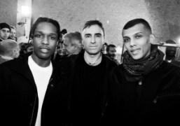A$AP Rocky, Raf Simons and Stromae backstage at Raf Simons F/W 2015…