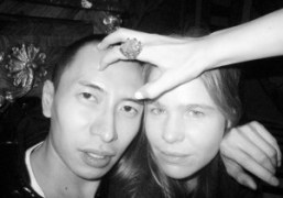 Terence Koh and Hanna Liden with Rachel Chandler's ring at a dinner…