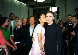 Rihanna and Raf Simons backstage after the Dior Resort 2015 show, Brooklyn….