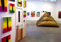 Spencer Sweeney's sauna and giant bean bag pyramid at Gavin Brown's enterprise,…