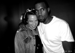 Olympia Le Tan and Kanye West at André & Lionel's apartment with…