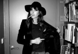 Lou Doillon showing off her Tom Ford jacket from the black tuxedo…