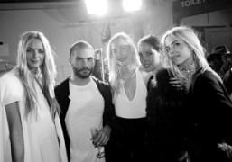 Designer Sebastian Peigné from Mugler and the Clarins girls after the Mugler…
