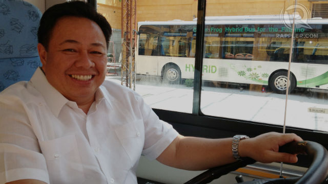 HYBRID DRIVER. Green Frog's Managing Director Philip Apostol hopes to put more hybrid busses on the road in Makati City. He is a former investment banker who lived in the US and Europe for 25 years. Photo by Rappler/Zak Yuson