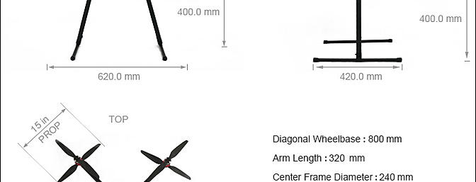 The Free Flight X8 is the same as the X4 design, but with longer landing gear legs.