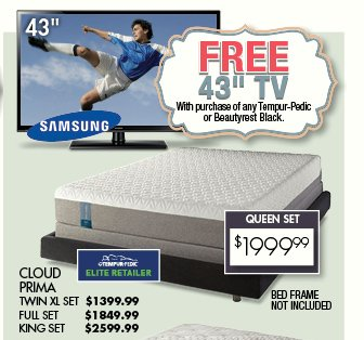 Free Tv With Select Mattress Purchase Enter To Win A 4k Ultra Hd Rc Willey Furniture