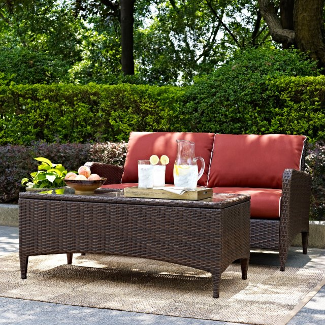 2 piece wicker patio furniture loveseat and table in sangria