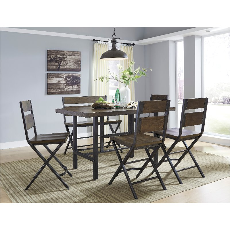 Reclaimed Wood And Metal 6 Piece Counter Height Dining Set