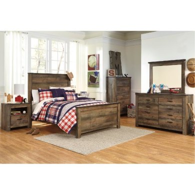 Browse full size bed sets   RC Willey Furniture Store Rustic Casual Contemporary 6 Piece Full Bedroom Set   Trinell