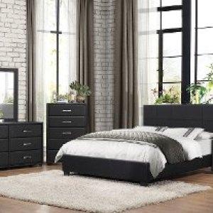 Contemporary Black 6 Piece Full Bedroom Set Lorenzi