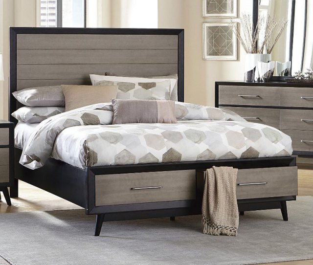 Contemporary Gray And Black Queen Storage Bed Raku Rc Willey Furniture Store