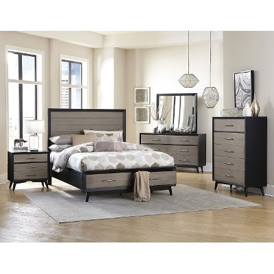 contemporary gray & black 6-piece queen bedroom set - raku | rc