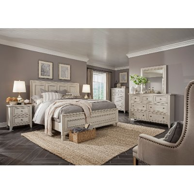 white casual traditional 6 piece king bedroom set - raelynn | rc