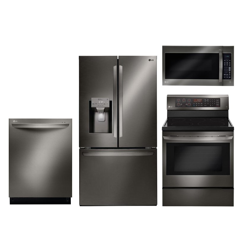 LG Black Stainless Steel 4 Piece Kitchen Appliance Package With Electric Range RC Willey