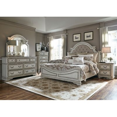 antique white traditional 6 piece king bedroom set - magnolia