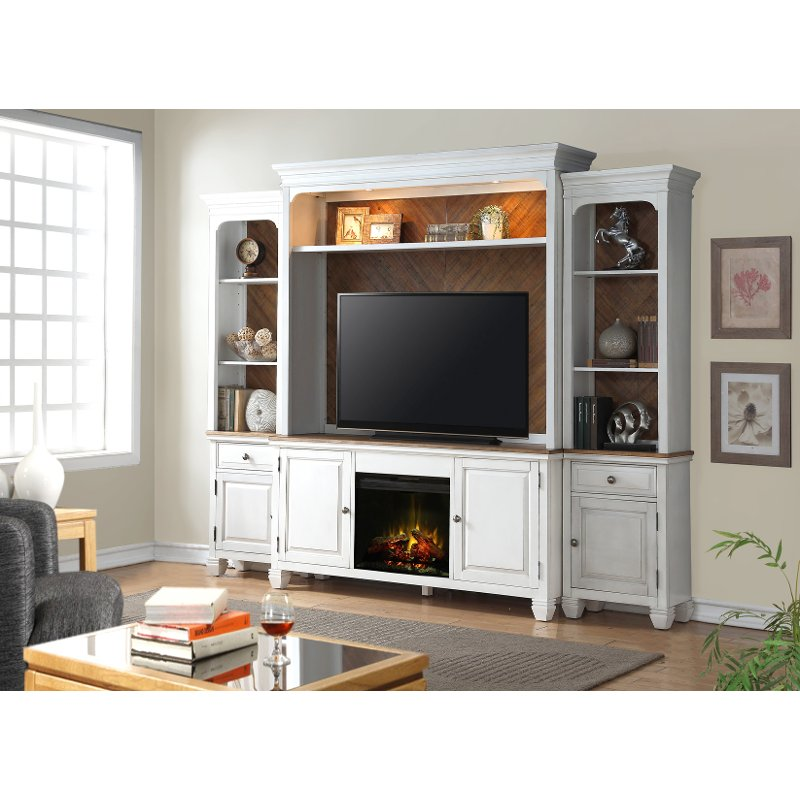 white 4 piece classic fireplace entertainment center camden