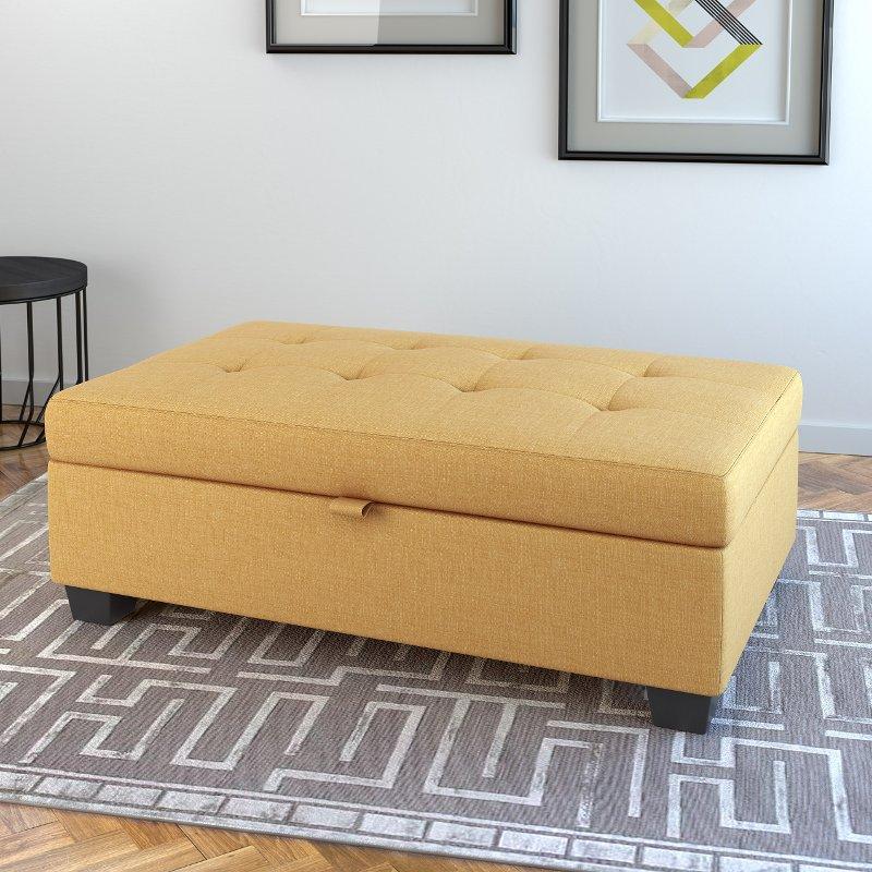 Yellow Storage Ottoman Antonio Rc Willey Furniture Store