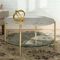modern round coffee table white marble top glass shelf gold legs