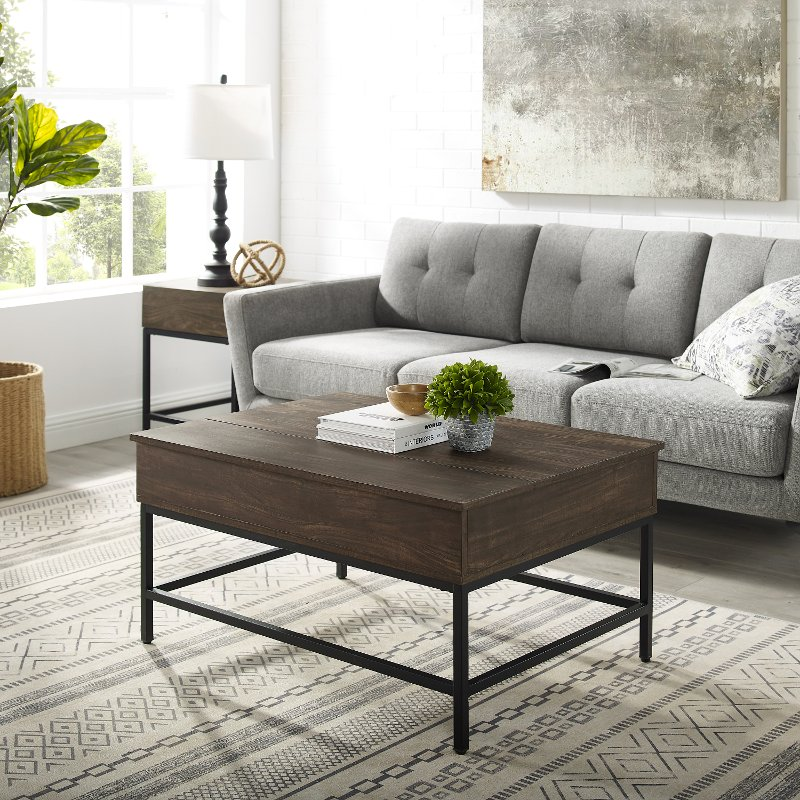 brown and matte black lift top storage coffee table jacobsen rc willey furniture store